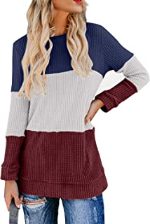 Womens Casual Color Block Long Sleeve Round Neck T Shirts Blouses Sweatshirts Tops S-XXL