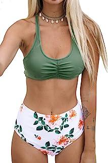 Cnebo Womens High Waisted Bikini Set Two Piece Striped Halter Top and High Waist Bottom Swimsuit Sunflower Print Swimwear