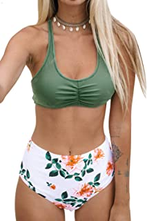 Women's High Waisted Bikini Floral Lace Up Two Piece Swimsuits