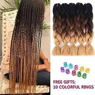 Ling Xiu Afro Braiding Hair 24inch Ombre Crochet Hair For Teens High Temperature Synthetic Braids Ombre Fiber Braiding Hair Extensions(Black-Dark Brown-Light Brown)