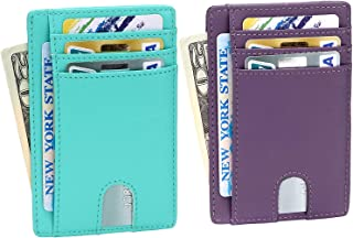 EKCIRXT Slim RFID Blocking Card Holder Minimalist Leather Front Pocket Wallet for Women - 2 Pack