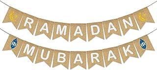 Ramadan Mubarak Banner Burlap - Ramadan Mubarak Decorations - Rustic Ramadan Mubarak Bunting Banner for Mantle Fireplace -...