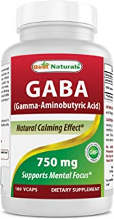 Best Naturals GABA Supplement 750mg 180 Veggie Capsules, Naturals Sleep Aid