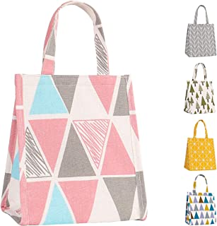 Buringer Insulated Lunch Bag Printed Canvas Fabric Cooler Tote Box Reusable Lunch Organizer Holder Container for Ladies Woman Man Kids School Work Picnic (Pink Triangle Pattern Small Size)