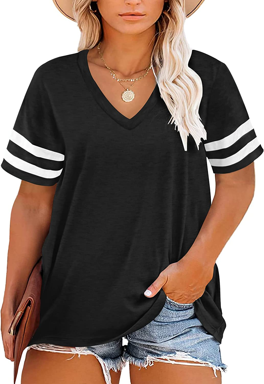 PLMOKEN Plus Size Top for Women Summer V-Neck T-Shirts Color Block Tunic Tee XL-4XL
