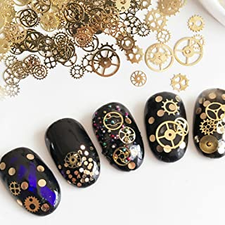 AKOAK Box-Packed (Approx.100 Count) Ultra-thin 3D Punk Time Gears Nail Studs Nail Art Decorations Alloy Manicure DIY Nail Tips