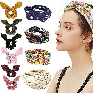 10 Pack Hair Scrunchies Headbands for Women, Chiffon Elastics Scrunchies Ribbon Bow Hair Ties Ropes Scrunchie and Boho Floal Criss Cross Head Wrap Hair Band Combo, Soft Elegant