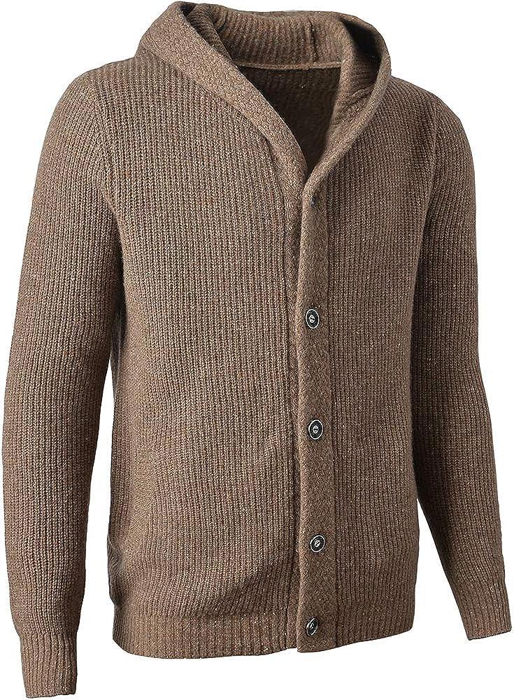 New sales 织礼 Zhili Men's Winter Ranking TOP10 Hooded 100% Cardigan Wool Sweate