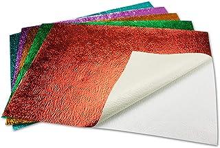 80x farbiges Metallic Bastelpapier   selbstklebend     geprägte Struktur   in hochwertiger Geschenkschachtel Aufbewahrungsbox   je 16 Bätter Grün Rot Lila Türkis Orange B07PGPDZ6N  Qualitätskönigin 2c29e7