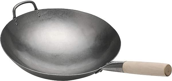 Pow Wok Stir Fry Pan Hand Hammered Carbon Steel 14 Inch Round Bottom
