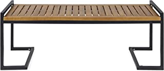 Christopher Knight Home 306426 Noel Outdoor Industrial Acacia Wood and Iron Bench, Teak and Black, Finish Metal