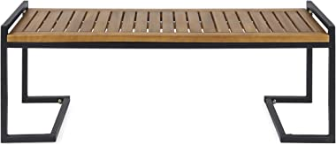 Christopher Knight Home 306426 Noel Outdoor Industrial Acacia Wood and Iron Bench, Teak Finish/Black Metal