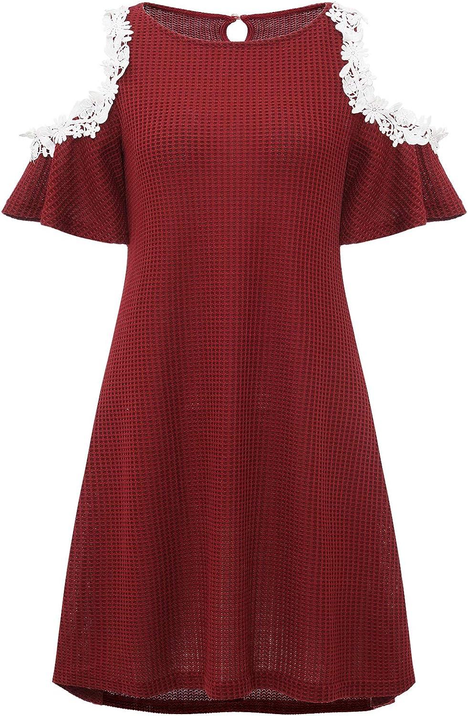 Dressystar Women's High-Low Tunic Waffles Dress Lace Cold Shoulder Short Sleeve Loose T-Shirt Casual Dress