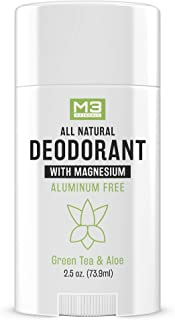 M3 Naturals Natural Deodorant with Magnesium, Green Tea and Aloe - Long-Lasting, Non-Toxic, Free of Aluminu...