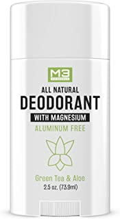 M3 Naturals All Natural Deodorant with Magnesium Green Tea and Aloe Long Lasting Non..