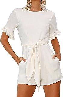 gllive Women's Crew Neck Ruffle Short Sleeve Jumpsuit Wrap Front Rompers Pants Shorts