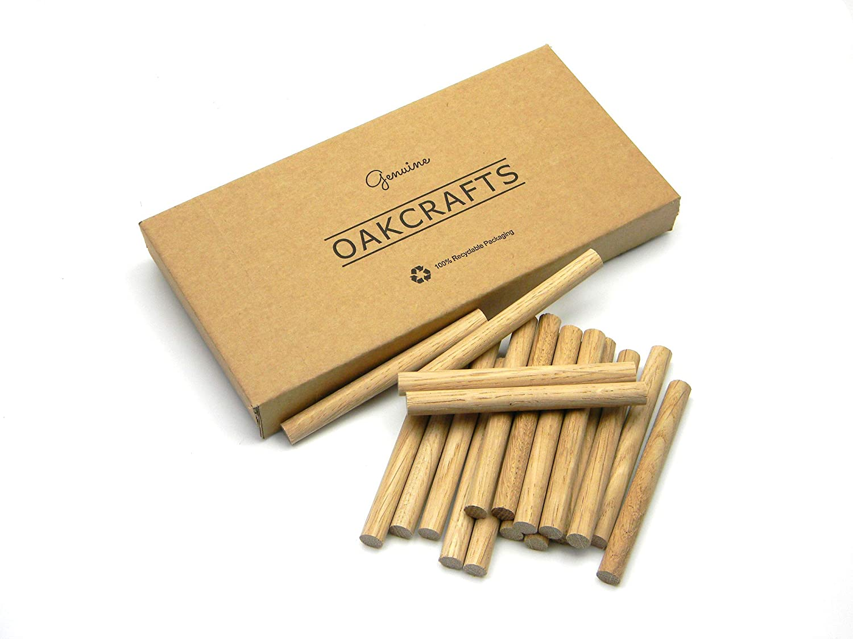 19mm x 100mm Pack of 10 Premium Quality European Oak Dowel 100mm Long