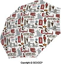 SCOCICI Compact Travel Size Full Size Canopy Umbrella Fun Games Inventory Equipment and Letter U Combination Teamplay Colorful ABC with Auto Open/Close Button Rain/Sun Umbrella