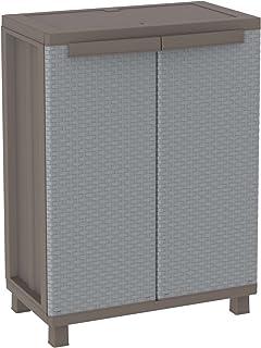comprar comparacion Terry J Rattan 68 Armario 2 Puertas con 1 Interno. Capacidad máxima del Estante: 20 kg distribuidos de Forma Uniforme, Gri...