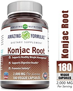 Amazing Formulas Konjac Root - 2000 mg per Serving of 3 Veggie Capsules, 180 Veggie Capsules Per Bottle - Supports Healthy Weight Management, Supports Digestive Health, Promotes Feeling of Satiety*