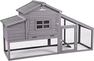 Aivituvin 69in Wooden Chicken Coop, Outdoor Large Hen House with Nest Box Poultry Cage, Rabbit Hutch - Waterproof UV Panel
