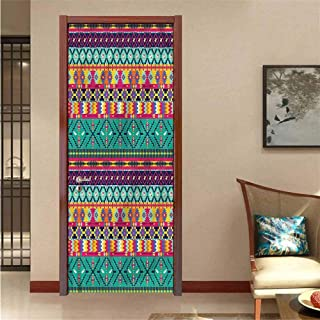 Aztec,Door Mural Horizontal Tribe Borders Decorative Door Sticker W17.1xH78.7