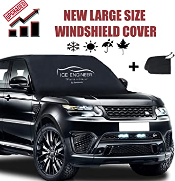BAMBARATA Car Windshield Snow Cover with Side Mirror Covers | Large Car Windshield Snow & Ice Cover Fits Most Cars and SUV | Straps & Magnets Double Fixed Design Windproof Outdoor Car Snow Covers: image