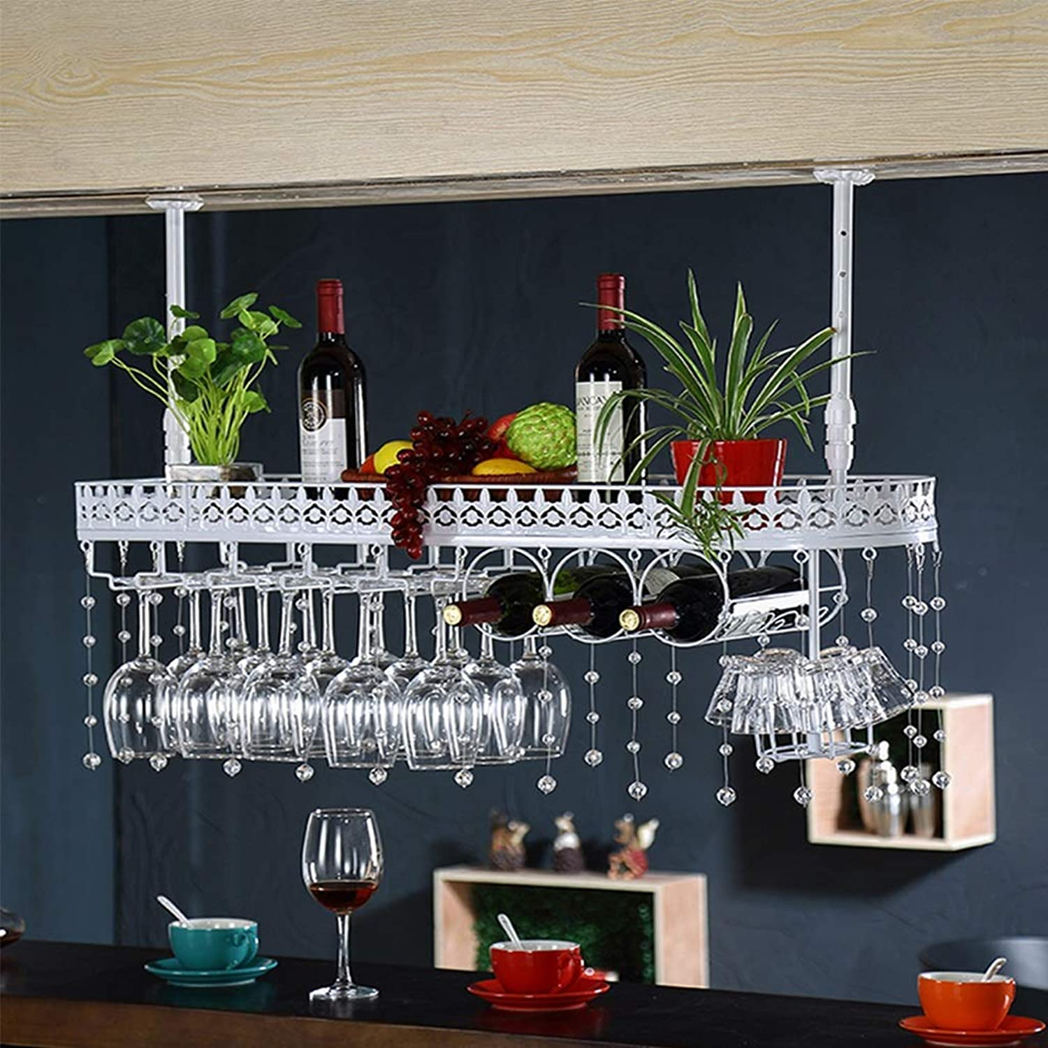 Red Wine Shelf Wine Glass Rack Hanging Wine Cabinet Hanging Cabinet Upside Down Wrought Iron Decorative Hanger (Size   80  25cm) (Size   80  25cm)