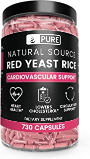 Pure Red Yeast Rice (730 Capsules) 100% Natural, Non-GMO & Gluten-Free (1245 mg Serving)