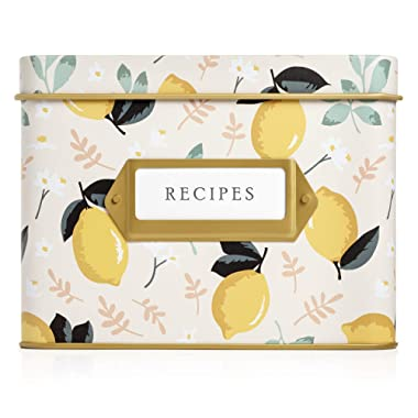 Jot & Mark Decorative Tin for Recipe Cards | Holds Hundreds of 4x6 Cards (Lemon Zest)