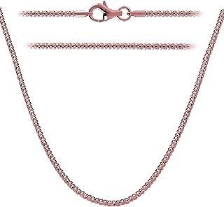 Collana Kezef Creations | Catenina Maglia Pop Corn di 2 mm – Argento Placcato Oro Rosa – Misure da 35,6 cm a 106,7 cm
