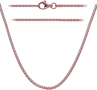 Creations Italian Sterling Silver, Gold Plated & Rose Gold Plated 1.6mm Coreana Popcorn Chain Necklace 14'' - 36'' Inch