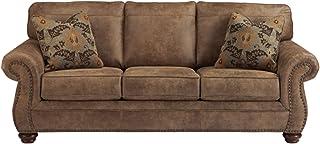 Signature Design by Ashley - Larkinhurst Contemporary Faux Leather Sleeper Sofa w/ Nailhead Trim - Queen Size - Earth