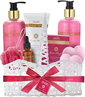 Bath and Body Spa Basket for Women, Best Christmas or Birthday Gift, Peony & Geranium Relaxing at Home Spa Kit, Bath Gift Set-Shower Gel-Bubble Bath-Body Lotion-Bath Bombs-Bath Salt-Message Oil-Puff