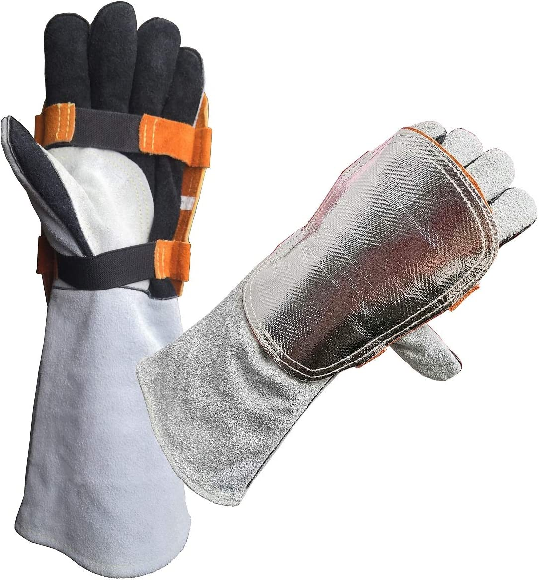 Leater Forge Welding Gloves with 2pcs Over item handling Today's only for He Pad Back Aluminized