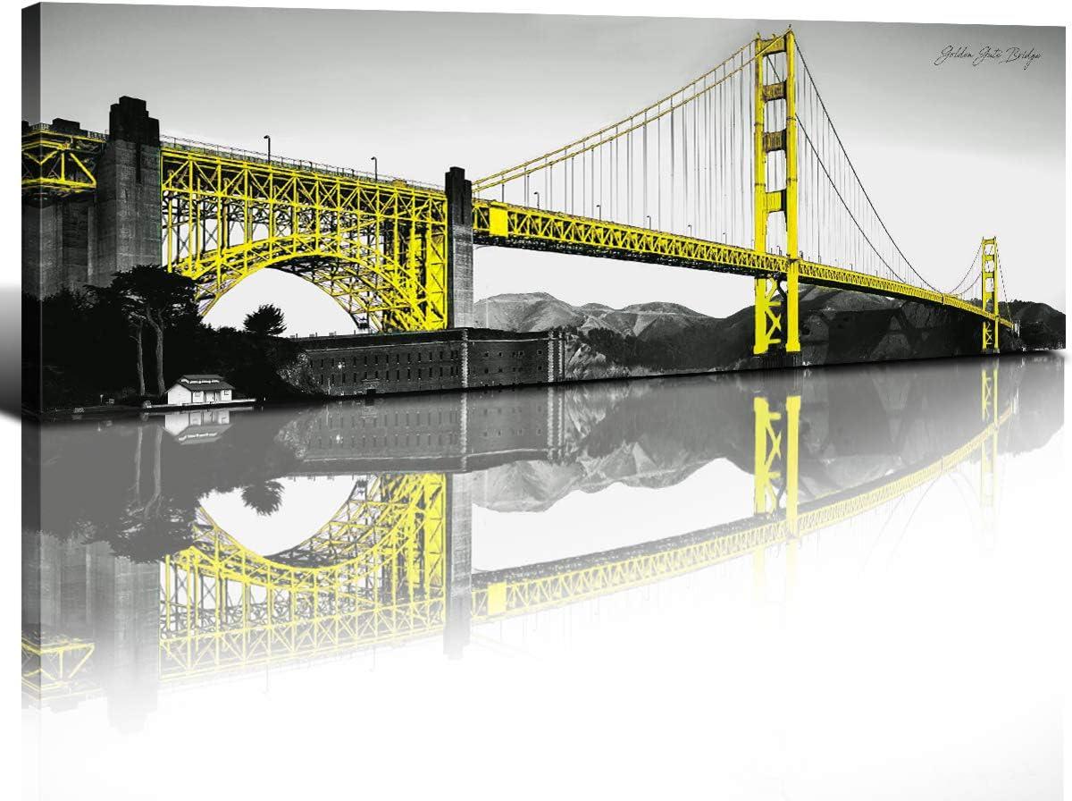 Ultra-Cheap Deals Yellow Canvas Wall Art Decor Golden Bridge B Picture Oakland Mall Gate Prints