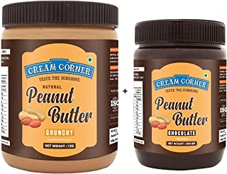 CREAM CORNER Peanut Butter Combo Crunchy + Chocolate Spread All Natural High Protein Nut Butter Healthy Snack (1Kg+500g)