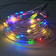 2 Pack Battery Operated Mini Led Fairy Lights with Timer 6 Hours on/18 Hours off for Bedroom Wedding Party Decorations,30 Count Leds,10 Feet Silver Wire(Multi-color)