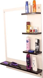 Anikaa Mavis Dressing Wall Mirrorwith Shelves (White/Wenge)