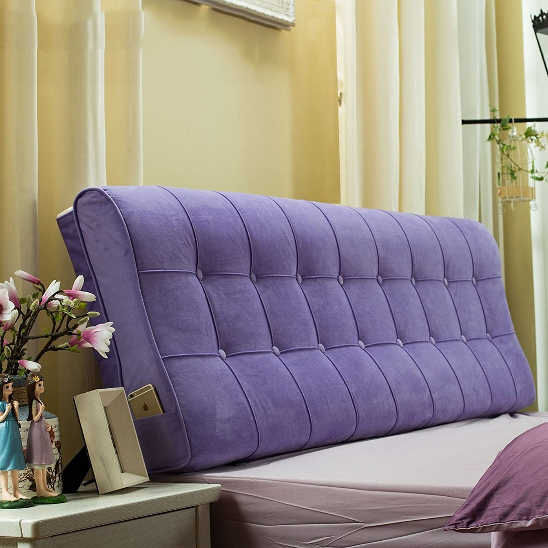 RFJJAL Bedside Cushion Solid color Flannel Soft Pack Bed Double Bed Pillow Simple Modern Large Backrest (color   E, Size   1.2m)