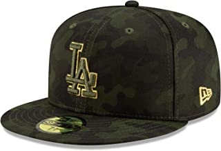 Rifle Green//Woodland Camo New Era 5950 Los Angeles Dodgers Fitted Hat Mens Cap