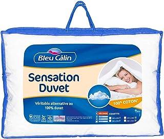 Bleu Câlin Couette 2 Personnes, Sensation Duvet, Très Chaude, Blanc, 220x240 cm, KSD50