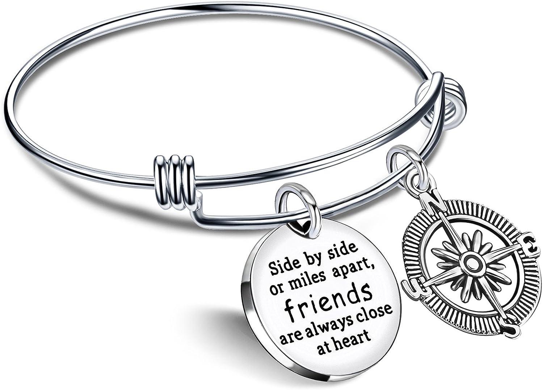 lauhonmin Best Friend Bracelet Friends are Always Close at Heart BBF Bangle Compass Long Distance Friendship Gifts