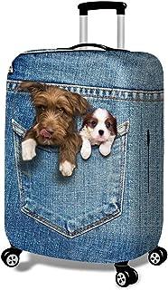 Fundas para Maletas - Patrón de Gato 3D - Look de Jeans -