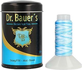 Dr. Bauers prima Hilo Dental 100m en una elegante caja de metal negro con tapa, rellenable, con menta sabor - Cinta dental plana de PTFE - sin cera