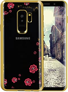 Galaxy S9 Case,Lozeguyc [Secret Garden] Gold and Pink TPU Plating Clear Shiny Cover Series for Samsung Galaxy S9-Swarovski