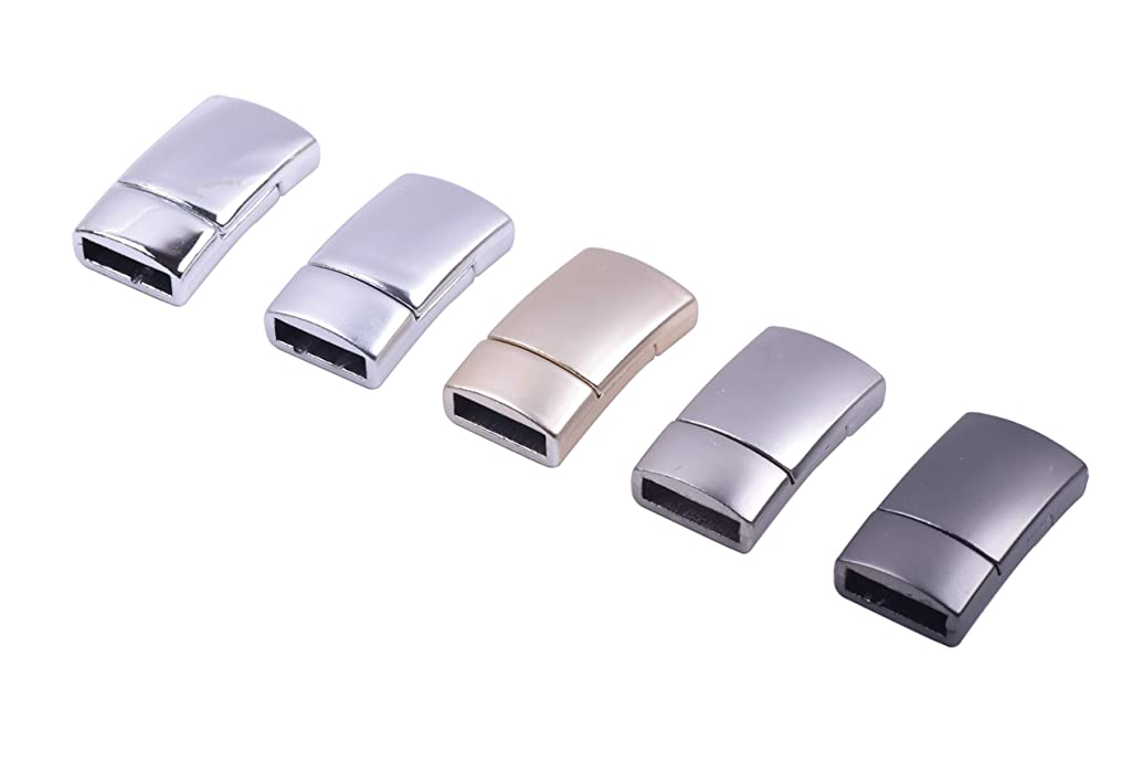 KONMAY 10 Sets 11.0x3.0mm Flat Magnetic Jewelry Clasps for Bracelets, Mixed 5 Colors