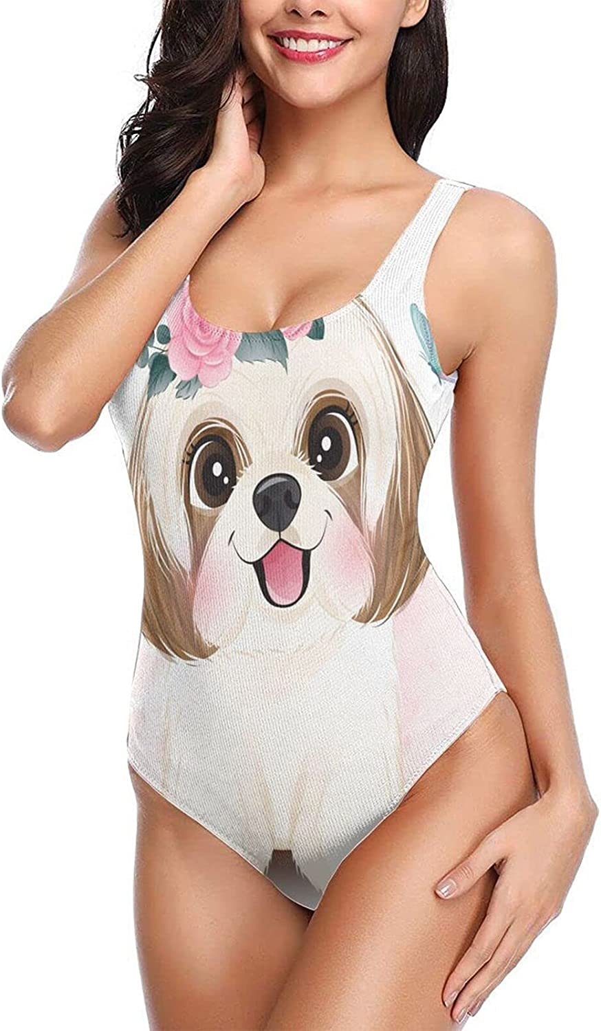 Cute Little Shih Tzu with Pink Flowers Floral Womens One Piece Bathing Suits Sexy Pad