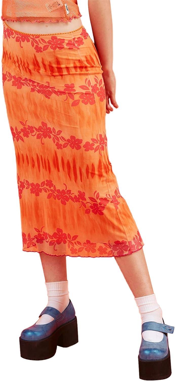 Women's Heart Print Bohemian Midi Skirt E-Girl High Waist A Line Stylish Skirts Y2K Slim Fit Dailywear (Orange Flower, L)