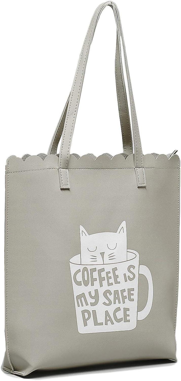 Cat Coffee Unisex Faux Leather Tote Bag Eco Shopping Handbag Zip Closure
